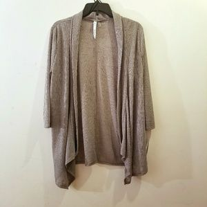 NY Collection Ribbed Gray Front Cardigan