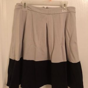 Tan and black pleated skirt
