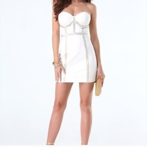 Bebe white beaded dress xs. Perfect for New Years