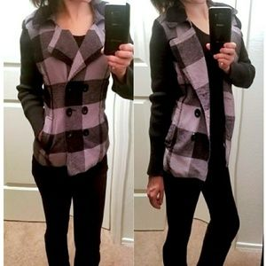 Jackets & Blazers - Black Striped Button Down Coat