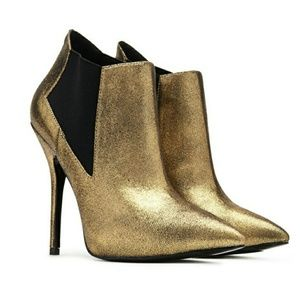 Metallic Pointed Toe Gold Heeled Booties