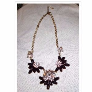 J.Crew Gorgeous Burgundy Clear Rhinestone Necklace