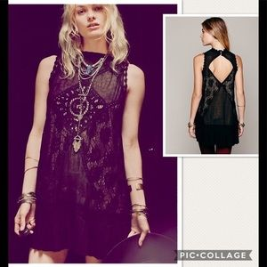 NWT Free People One Angel Lace Black Dress