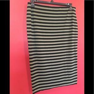 Vince Camuto Green/Black Stripe Midi Pull-on Skirt