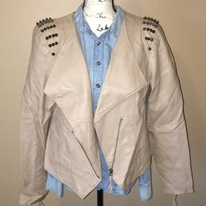 Forever 21 faux leather studded tan/cream jacket