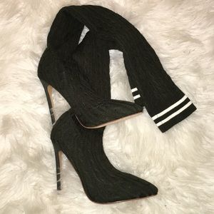 Thigh High Knit Stiletto Boots