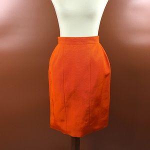 Vintage 90s Orange Textured Chanel Pencil Skirt S