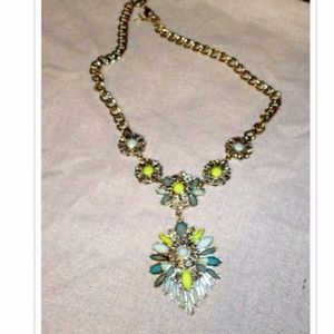 J.Crew Turquoise Yellow Statement Necklace