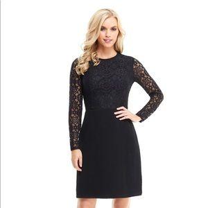 NWT London Times black lace Josephine dress Sz 8