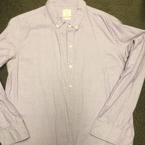 Gap lavender and white polka dot button down