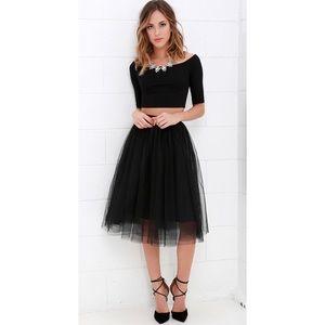 'Alexandria' Black Tulle Midi Skirt
