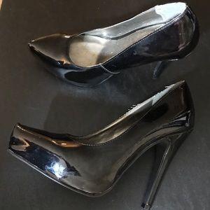 Black Lat Shoes High Heels Pumps Patent Leather