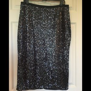 Express Sequined Skirt w/Faux Leather Trim Waist