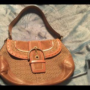 COACH Soho Studded Flap Camel Brown Handbag EUC