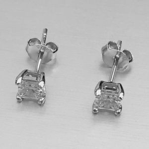 Jewelry - Sterling Silver 4MM Square Clear CZ Earrings