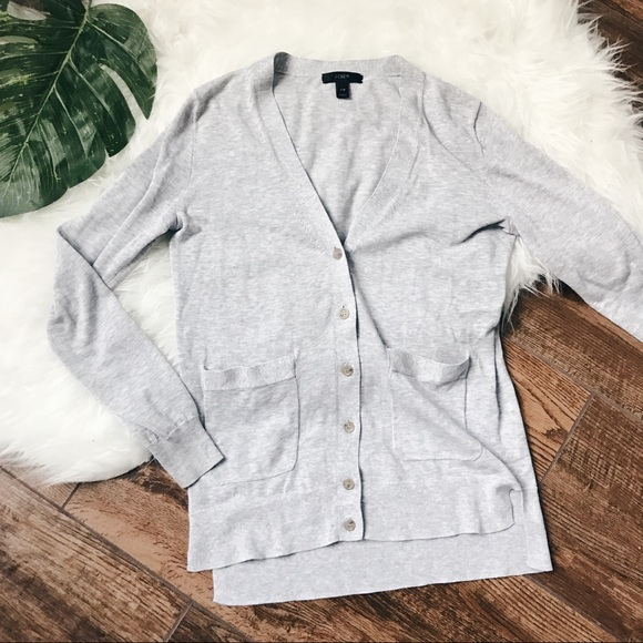 J. Crew - J Crew • Gray Lightweight Cotton Cardigan Sweater from ...