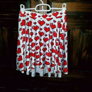 8bit red and white heart skirt