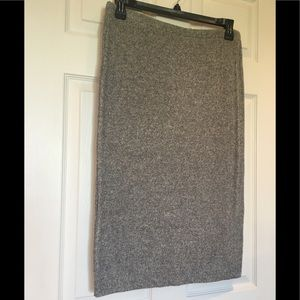 Express Sweater Ribbed Knit Midi Skirt Gray