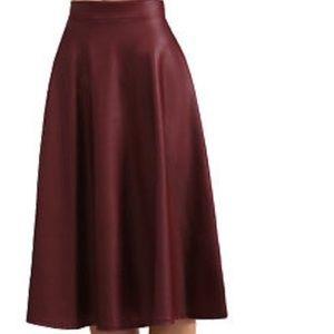 Faux Leather Midi Skirt Burgundy