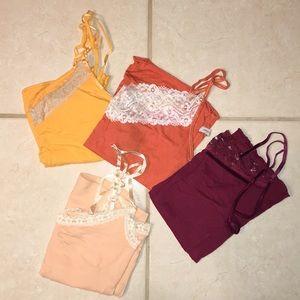 Bundle of Hollister & Abercrombie Lace Trim Camis