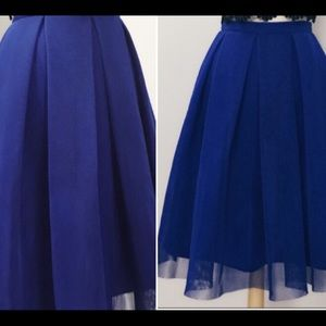 Pleated Tulle Skirt Royal Blue