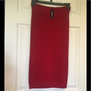 Express Ribbed Sweater Knit Midi Red Skirt