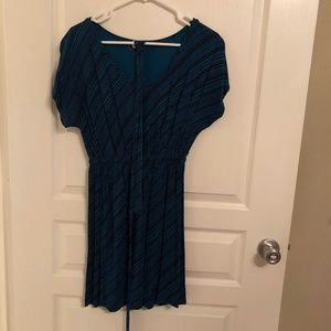 Teal and dark navy printed dress with waist strap