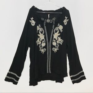 Free People Black Long Sleeve Embroidered Blouse