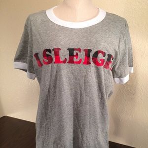 Victoria's Secret PINK Gray Bling Ringer T-Shirt