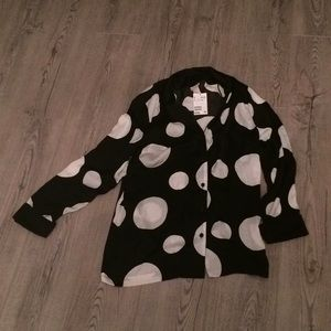 Black and White Button Down H&M Blouse Size 12 NWT