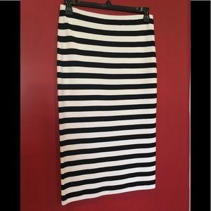 Sanctuary Black/White Stripe Midi Pull-on Skirt