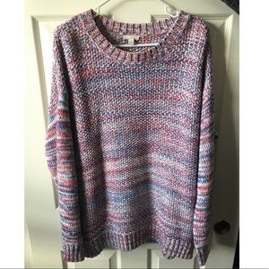 Red white and blue knitted sweater