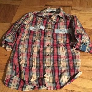 Riley flannel 3/4 sleeve button down!