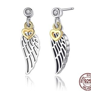 Jewelry - 100% 925 silver love and guidance feather earrings