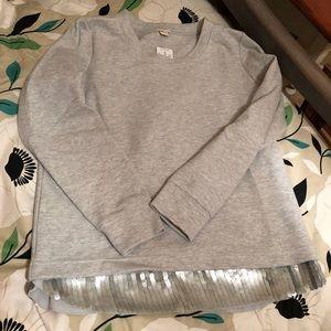 J Crew grey sequin accent sweatshirt