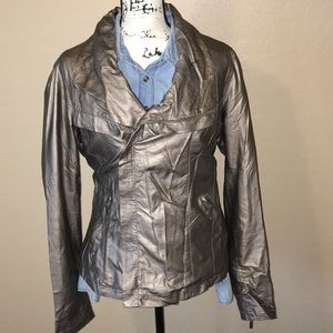 Forever21•Metallic brown/grey faux leather jacket