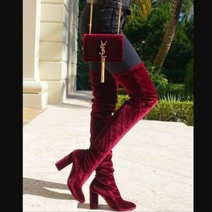 Jeffrey Campbell Otk Rich Burgundy Velvet Boots