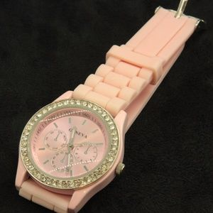 Accessories - Pale Pink Watch with Rhinestones