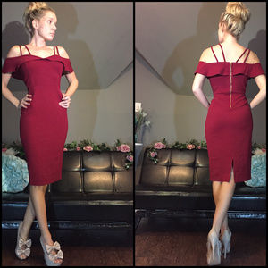 Burgundy Red Off Shoulder Fitted Holiday Dress