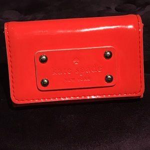 Kate Spade Patent Leather Card Wallet Orange