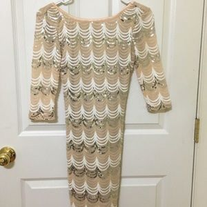 Papaya sequin beige/gold/silver long sleeve dress