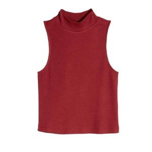 H&M Divided Burnt Red High Neck Ribbed Top Size L