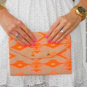 Stella & Dot Aztec Coral & Tan Envelope Clutch