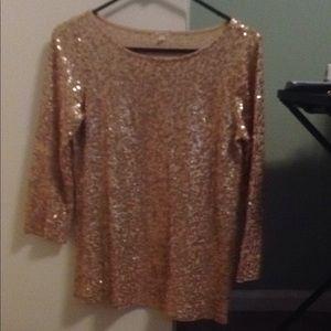 Gold Sequin J. Crew Shirt