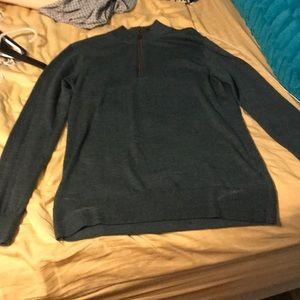 Hunter green half zip Orvis sweater
