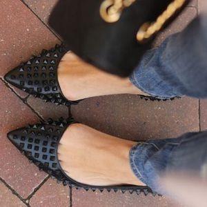 Zara Spike / Stud Pointed Leather Black Flat
