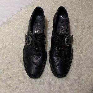 Josef Seibel black leather slip on shoes