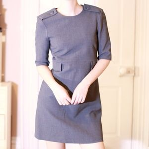 Zara Mod Shoulder Button Grey Sheath Dress