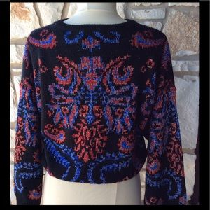 Sweaters - Vintage 80's cropped metallic sweater