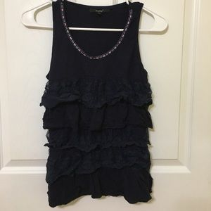 Navy blue flowy sleeveless top